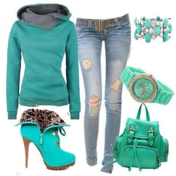 jeans green sweater shoes jewels