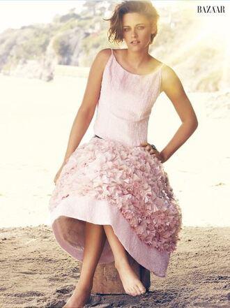 dress pink girly kristen stewart midi dress editorial