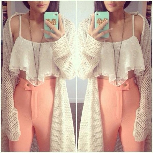 pants high waisted pants light coral