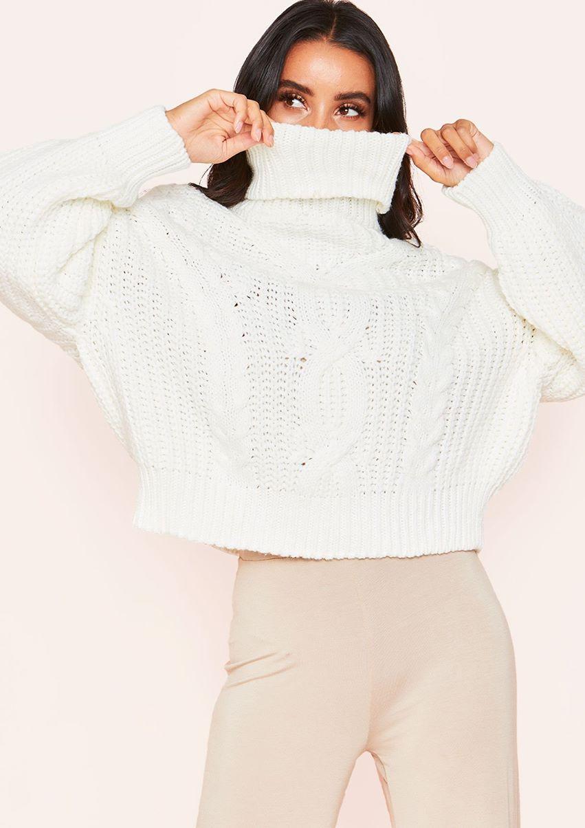 Hana Cream Cable Knit Roll Neck Jumper