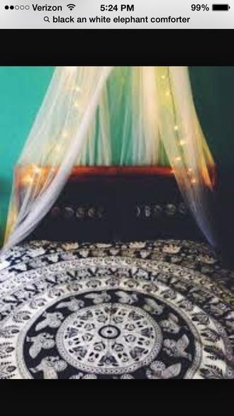 home accessory black white elephant comforter