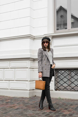 jacket tumblr grey blazer top stripes striped top bag brown bag denim jeans black jeans boots black boots beret