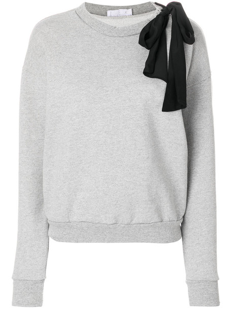 sweatshirt bow women cotton silk grey sweater