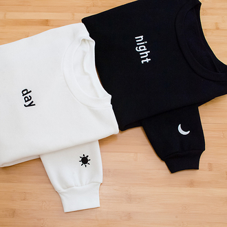 sweater kozy day night sweatshirt white sweater black sweater moon sun black and white grunge vintage tumblr outfit grunge wishlist hippie tumblr shirt day and night black shirt white shirt white black cute long sleeves moon and sun
