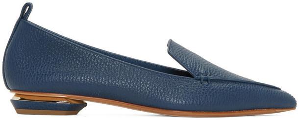 Nicholas Kirkwood Blue Leather Beya Loafers