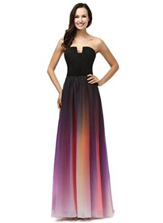 Amazon.com: L'ivresse Women's Ombre Colorful Chiffon Sweetheart Long Evening Dress: Clothing