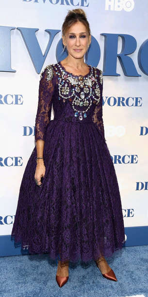 dress, sarah jessica parker, gown, navy dress, lace dress, midi ...