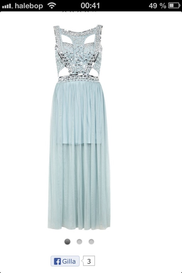 dress light blue blue dress beaded dress cut-out dress jewels baby blue dress prom dress