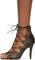 Black leather lelie ghillies gladiator sandals