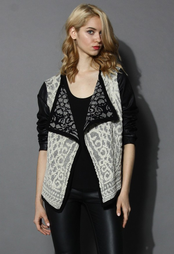 cardigan chicwish retro baroque embossed cardigan faux leather sleeves