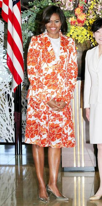 skirt blazer pumps michelle obama first lady outfits floral