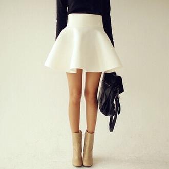 skirt white high waisted flowy