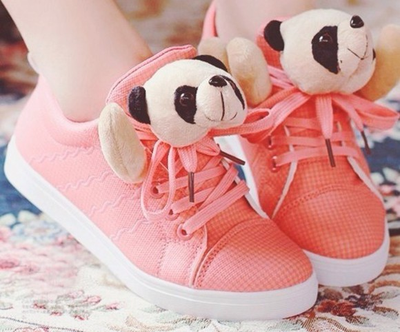 shoes unique girly nice panda animal print pattern stuffed animal pink pastel gym sneakers cute adorable