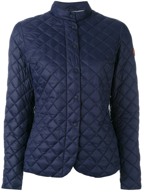 Save The Duck jacket women quilted blue