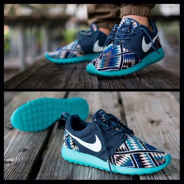 cheap for discount 15f5a 7cae6 shoes blue low top sneakers pants nike nike running shoes roshe runs aztec  nike roshe run
