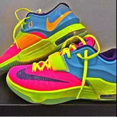 shoes,nike,colorful,running shoes,kds,style,rainbow,nike sneakers,nike id,nike running shoes,nike colorful,sneakers,multicolor,multicolor sneakers,kd 7s,customized,kds 6,rainbow shoes,koby durans