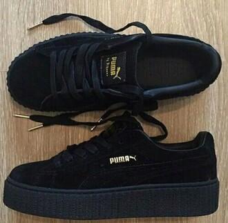 shoes black puma x rihanna creepers