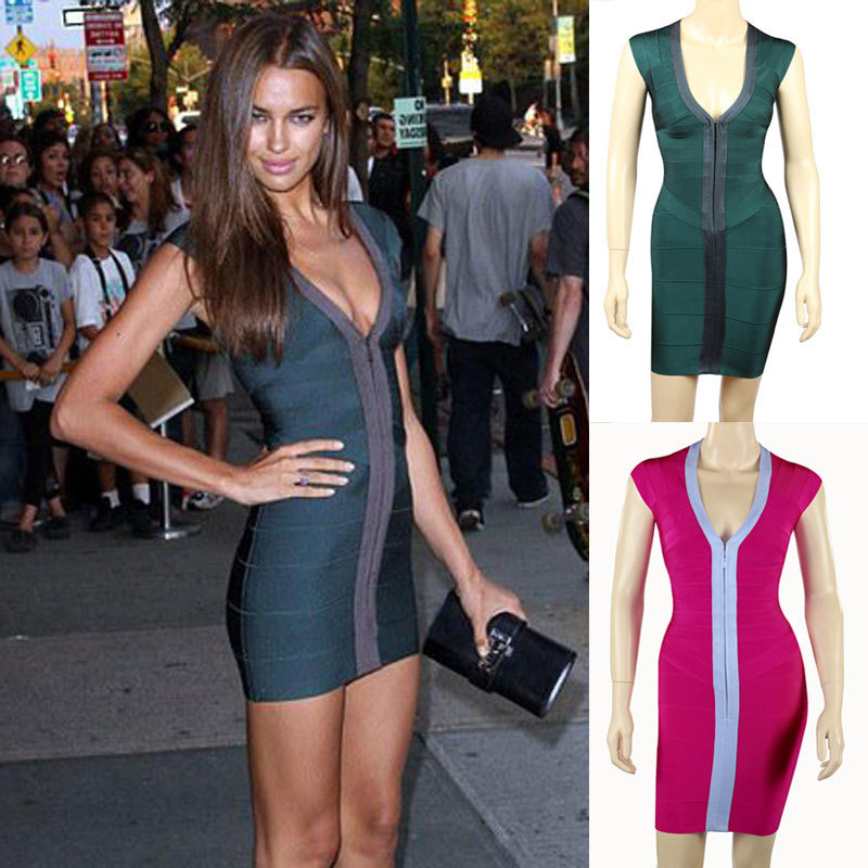 Sexy front zipper dress