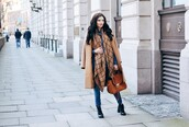 lolita mas,blogger,bag,grid,camel coat,blanket scarf,leather bag,coat,scarf,jeans,shirt,shoes