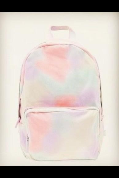 rainbow bag pastel tie dye backpack back to school style