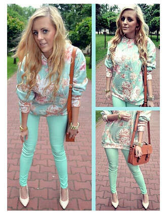 quote on it sweet jeans sweater flowers spring outfits pants roses satchel bag aqua