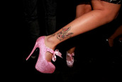 shoes,bunny,tattoo,bow,baby pink high heels,diamonds