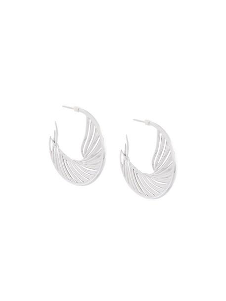 SHAUN LEANE women earrings hoop earrings silver white grey metallic jewels