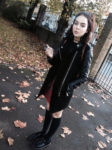 coat black instagram emo alternative skirt