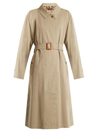 coat trench coat long cotton beige