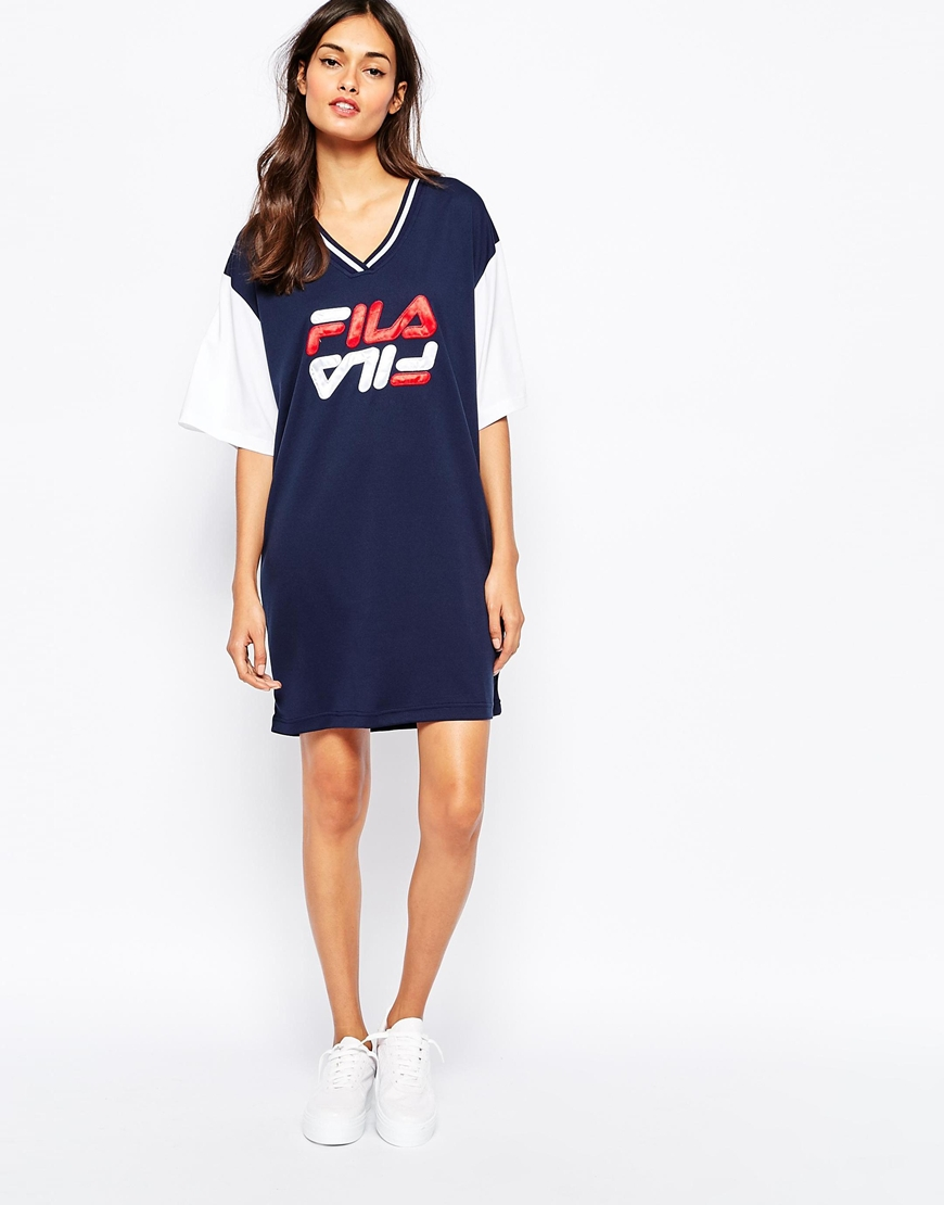 2a602e4709a Fila Oversized Mesh Basketball Jersey Tee Dress With Front Logo at ...