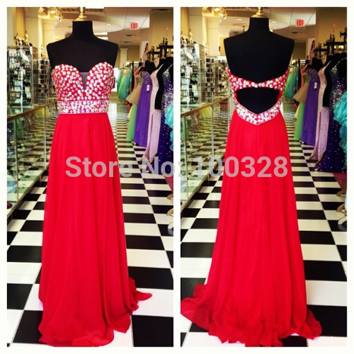 Aliexpress.com : buy 2014 new design high quality a line floor length court train sleeveless sweetheart with crystal backless prom/evening dresses from reliable sweetheart cut dress suppliers on rose wedding dress co., ltd