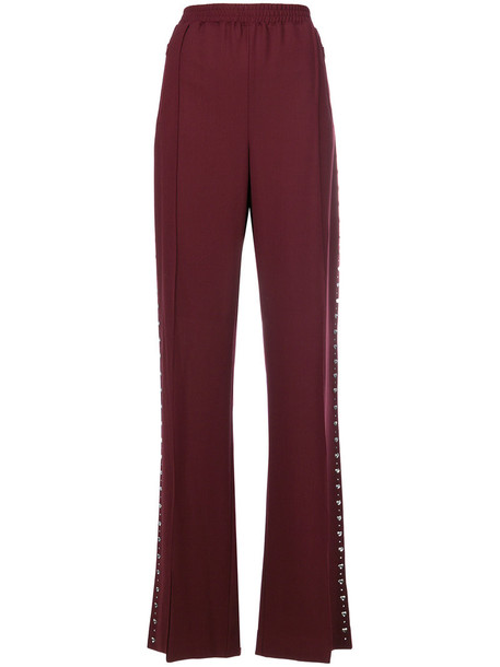Area studded pleated women spandex wool red pants
