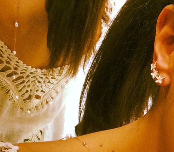 jewels ear earring butterfly diamond flower ear jacket long ear wre pin please jewlery