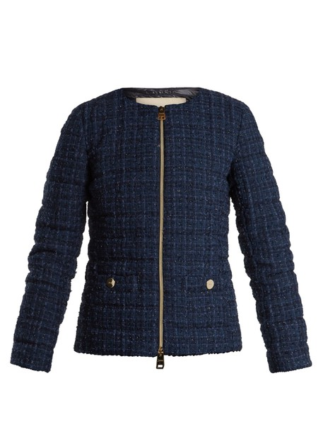 jacket high quilted navy