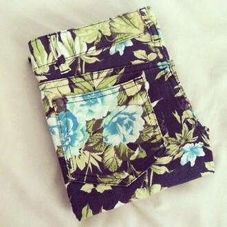 pants floral pants floral jeans flowered shorts blue flowers summer