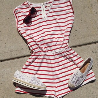 romper ya los angeles stripes nautical jumpsuit coverup bathing suit cover up