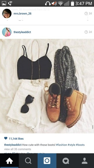 shoes shorts boots black top black crop top crop tops white shorts