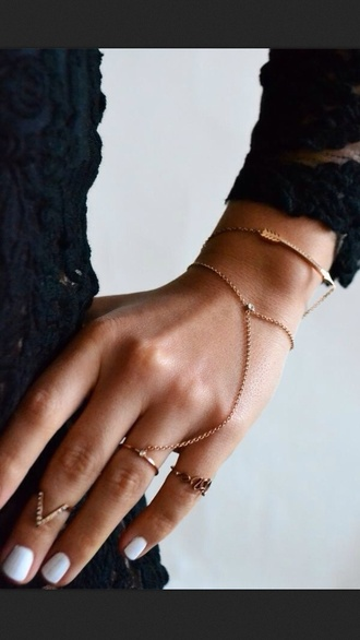 jewels gold chain hand jewelry ring sweater ring chain dainty gold ring