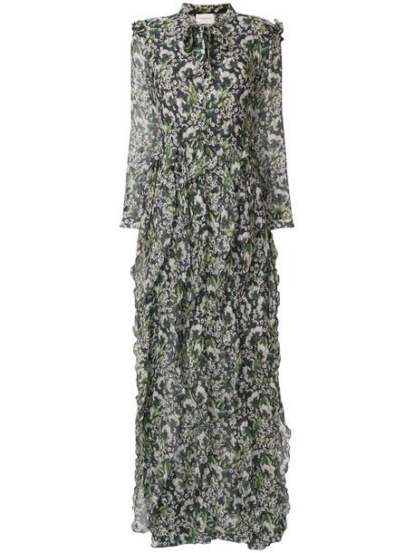 dress maxi dress maxi women floral print black silk