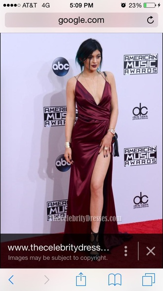 dress kylie jenner dress burgundy dress silk dress evening dress burgundy