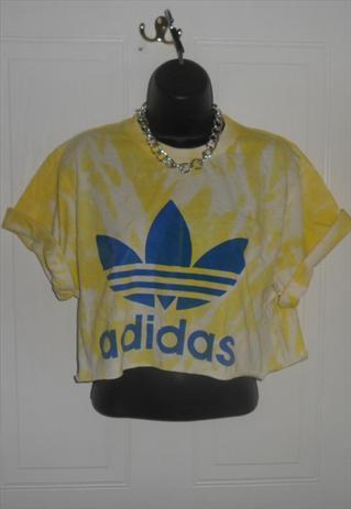 diy cropped acid wash tie dye adidas  t shirt  grunge size M | mysticclothing | ASOS Marketplace