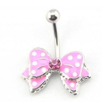jewels bow pink polka dots white silver gem belly button ring
