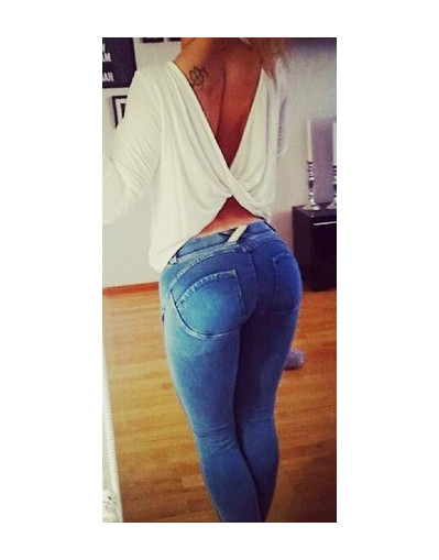 Flexible sensual push up elastic jeans sexy celebrity trend chic