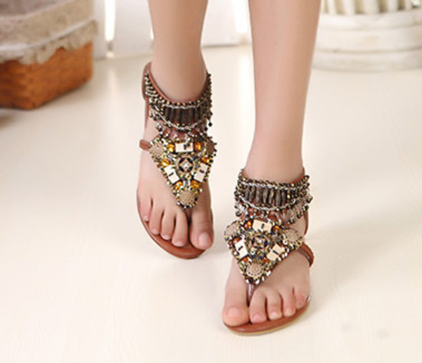 Shoes Boho Bohemian Flats Sandals Tumblr Summer