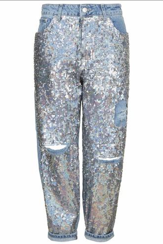 jeans ripped jeans sequins boyfriend jeans sequin jeans blue