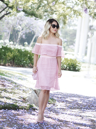 laminlouboutins blogger dress shoes bag sunglasses off the shoulder dress pink dress summer dress high heel pumps pink bag summer outfits