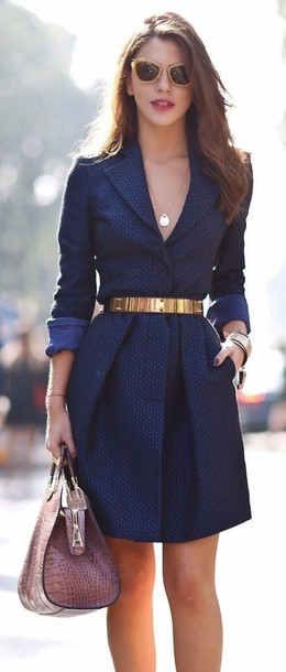 Dress: blue business dress, navy dress, collared dress, navy dress ...