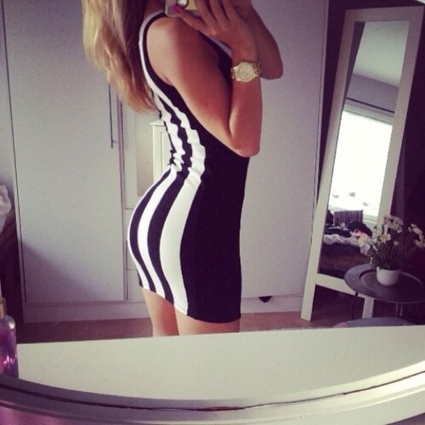dress little black dress monochrome black white dress stripes cute dress dress