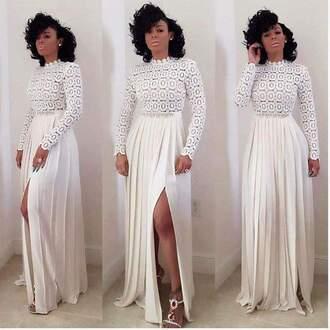 dress long dress white dress pleated dress