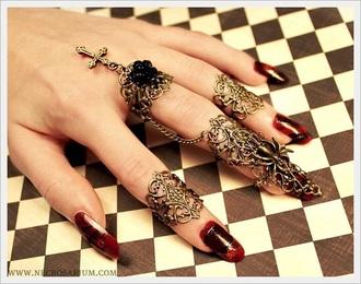 nail accessories ring nail nail jewelry gold black